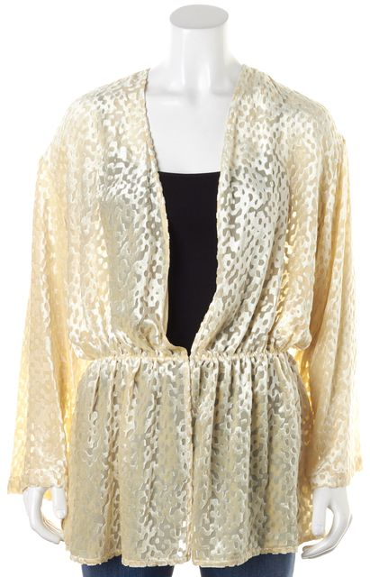 GIORGIO ARMANI Ivory Abstract Burn-Out Velvet Cardigan