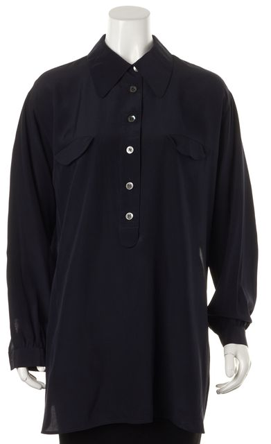 GIORGIO ARMANI Dark Blue Side Slit Long Sleeve Button Down Blouse