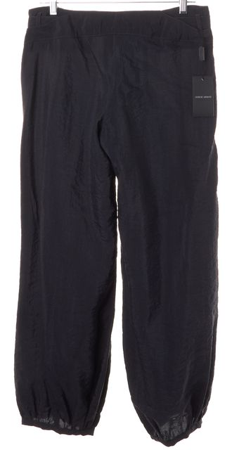 GIORGIO ARMANI Slate Blue Silk Belted Gathered Ankle Casual Pants