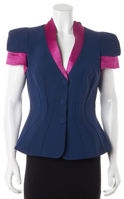 GIORGIO ARMANI Navy Blue Pink Silk Padded Shoulder Jacket