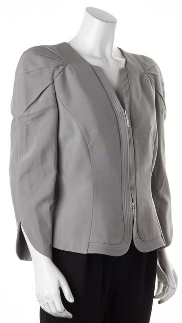 GIORGIO ARMANI Gray Silk Structured Shoulder Zip Up Jacket