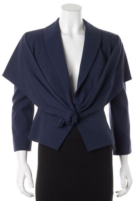GIORGIO ARMANI Navy Blue Wool Rosette Snap Button Jacket