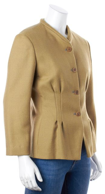 GIORGIO ARMANI Yellow Gray Virgin Wool Boucle Basic Jacket