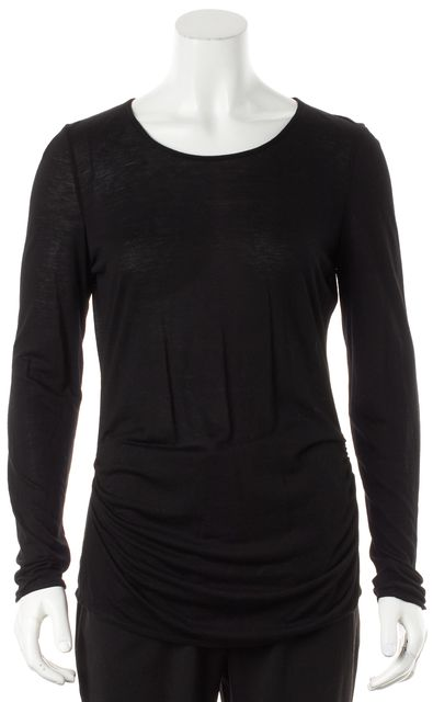GIORGIO ARMANI Black Knit Ruched Crewneck Long Sleeve Top