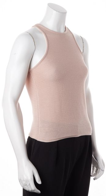 GIORGIO ARMANI Pink Cotton Ribbed Knit Racerback Tank Top