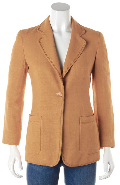 GIORGIO ARMANI Orange Career One Button Tweed Blazer