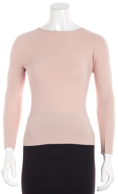 GIORGIO ARMANI Nude Beige Long Sleeve Crew Neck Pull On Blouse