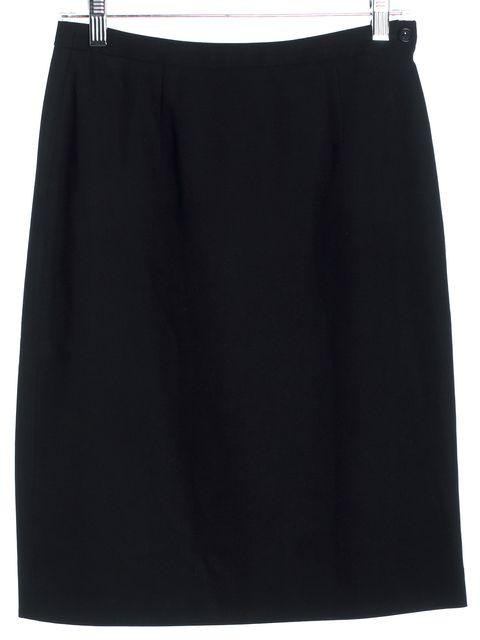 GIORGIO ARMANI Black Wool Back Slit Straight Skirt