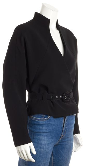 GIORGIO ARMANI Black Belted Standup Collar Jacket