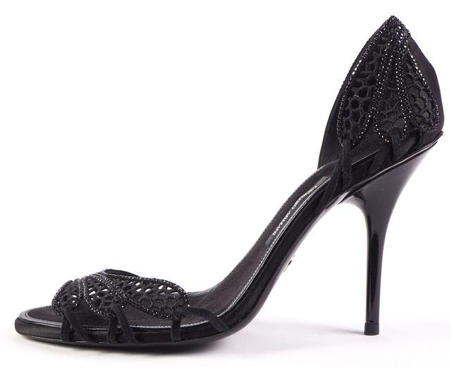 GIORGIO ARMANI Black Sequin Open Toe Strapless Heels Size US 8 IT 38.5