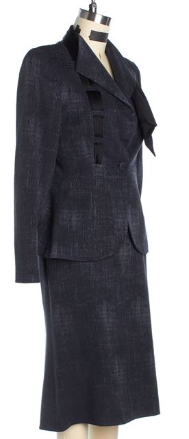 GIORGIO ARMANI Dark Gray Long Sleeve Textured Wool Skirt Suit Suit Set