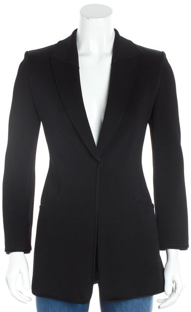 GIORGIO ARMANI Black Wool Knit Snap One Button Blazer Jacket