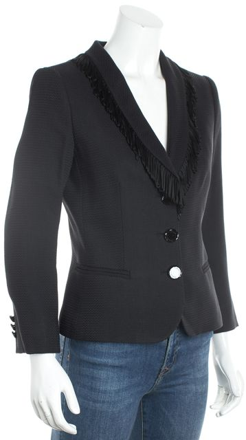 GIORGIO ARMANI Navy Black Textured Fringe Collar Blazer Jacket