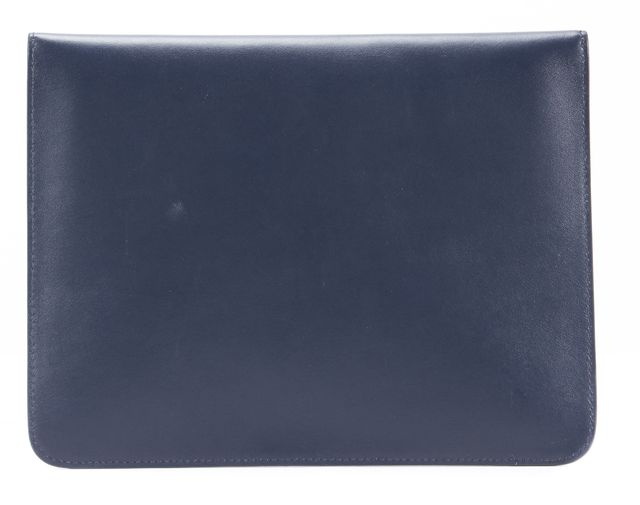 GIORGIO ARMANI Navy Blue Leather Envelope Clutch