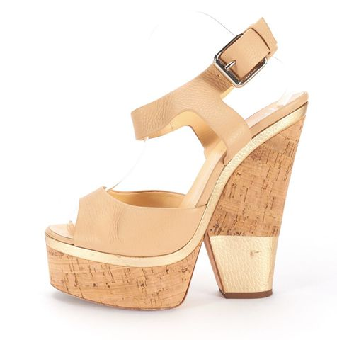 GIUSEPPE ZANOTTI Beige Leather Cork Gold Block Heel Platform Sandals