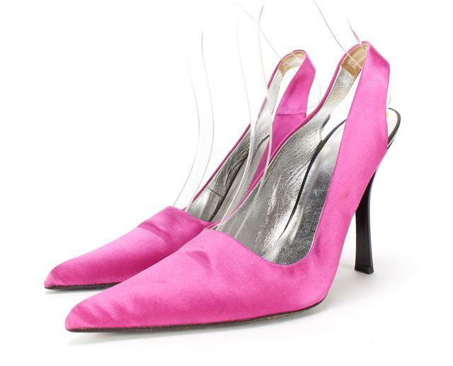 GIUSEPPE ZANOTTI Pink Satin Pointed-Toe Slingback Heels