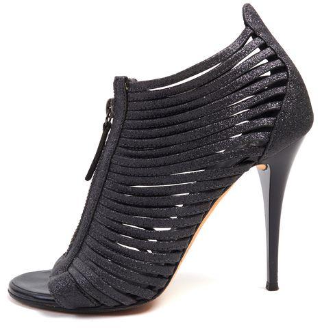 GIUSEPPE ZANOTTI Gray Glitter Leather Caged Open Toe Heels Size 36.5