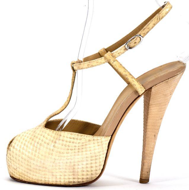 GIUSEPPE ZANOTTI Ivory Snake Embossed Leather T Strap Peep Platform Sandal