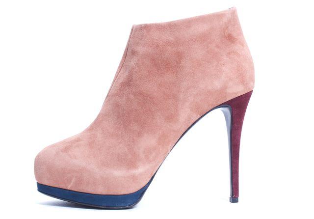 GIUSEPPE ZANOTTI Rose Pink Suede Platform Bootie Heels