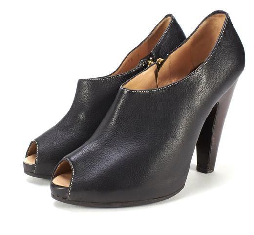 GIUSEPPE ZANOTTI Black Leather Open Toe Platform Ankle Boot Heels Size 39