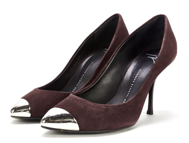 GIUSEPPE ZANOTTI Oxblood Red Suede Silver Toe Pumps