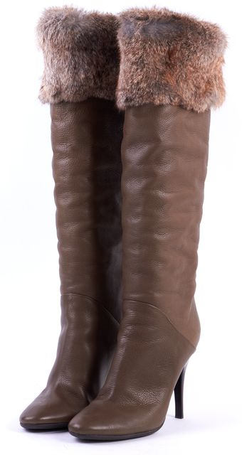 GIUSEPPE ZANOTTI Khaki Green Leather Fur Lined Knee-high Boots
