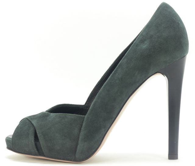 GIUSEPPE ZANOTTI Green Suede Peep Toe Cut Out Pumps
