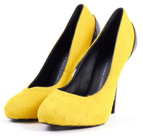 GIUSEPPE ZANOTTI Yellow Calf Hair Black Patent Leather Heels