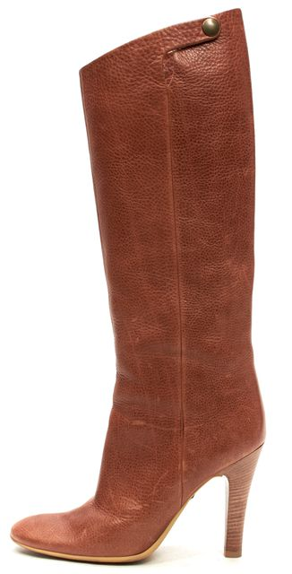GIUSEPPE ZANOTTI Brown Pebbled Leather Knee-high Boot Tall Boots