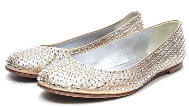 GIUSEPPE ZANOTTI Gold Rhinestone Embellished Leather Ballet Flats