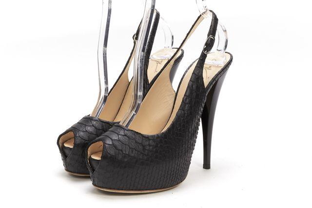 GIUSEPPE ZANOTTI Black Snake Embossed Leather Open Toe Slingback Platform Heels