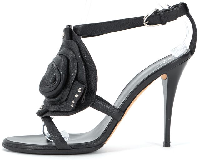 GIUSEPPE ZANOTTI Black Leather Flower Stud Embellished Heel Sandals