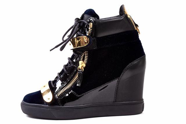 GIUSEPPE ZANOTTI Black Navy Velvet Leather Gold Buckle Wedges Sneakers