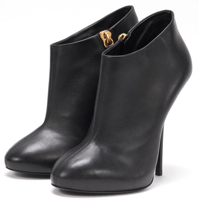 GIUSEPPE ZANOTTI Black Gold Leather Side Zipper Closure