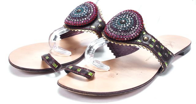 GIUSEPPE ZANOTTI Brown Leather Crystal Stud Embellished Flat Sandals
