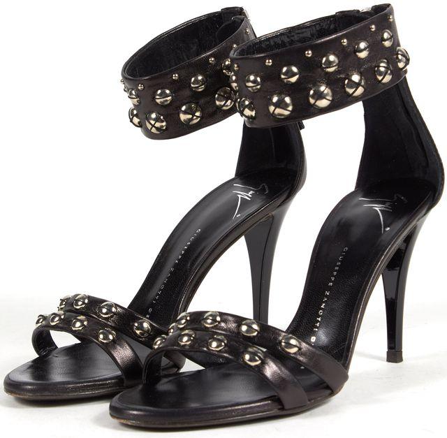 GIUSEPPE ZANOTTI Black Leather Multi Strap Stud Embellished Sandal Heels