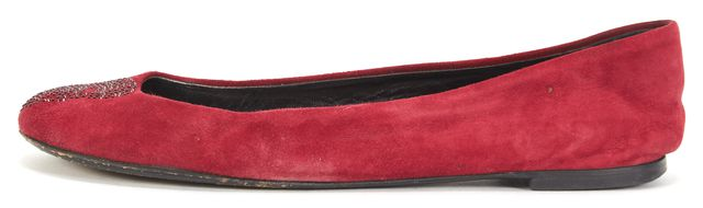 GIUSEPPE ZANOTTI Red Suede Skull Embellished Ballet Flats