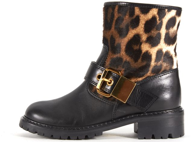 GIUSEPPE ZANOTTI Black Leather Leopard Calf Hair Gold Buckle Ankle Boots