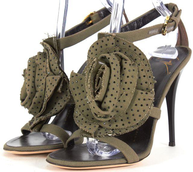 GIUSEPPE ZANOTTI Hunter Green Embellished Canvas Sandal Heels