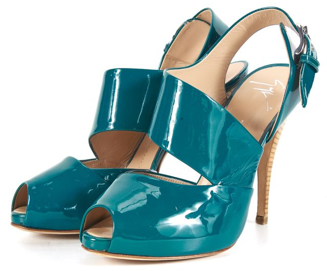 GIUSEPPE ZANOTTI Teal Blue Patent Leather Thick Band Ankle Strap Heels