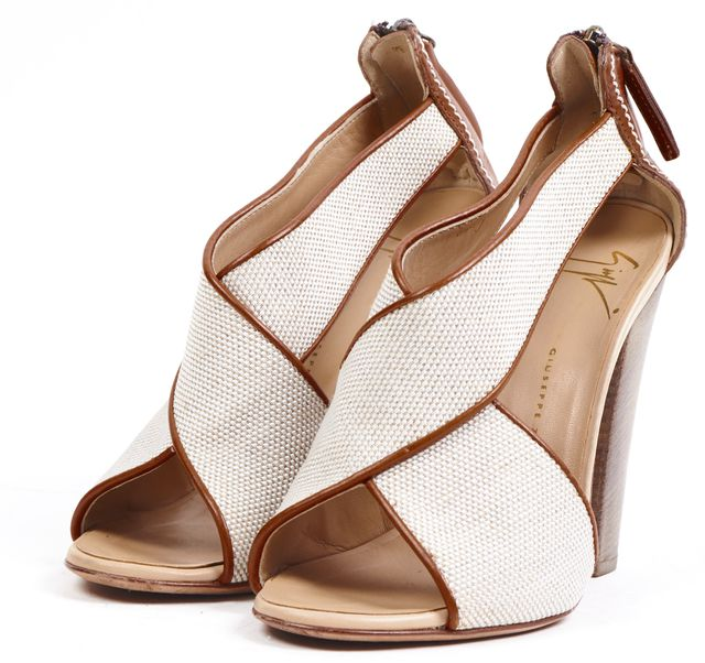 GIUSEPPE ZANOTTI Ivory Canvas Brown Leather Stacked Heels Pumps