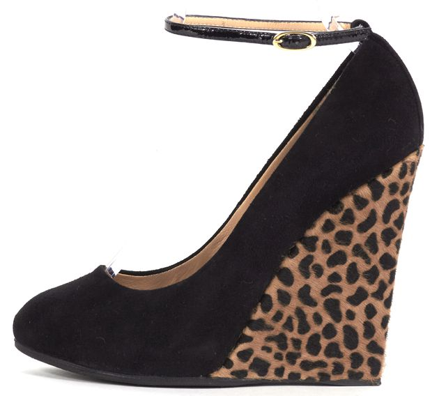 GIUSEPPE ZANOTTI Black Suede Ankle Strap Leopard Print Calf Hair Wedges