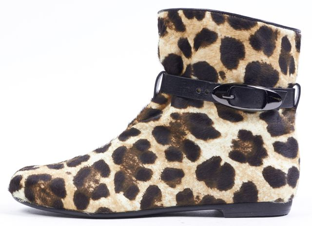 GIUSEPPE ZANOTTI Brown Leopard Calf-Hair Leather Trim Ankle Boots