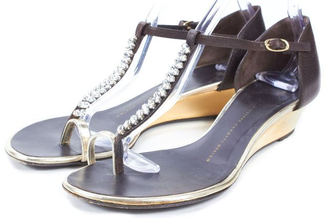 GIUSEPPE ZANOTTI Brown Leather Embellished T-Strap Mini Wedged Sandals