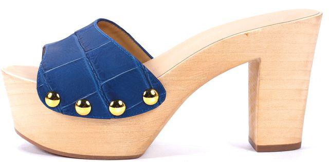 GIUSEPPE ZANOTTI Leather Blue Wooden Platform Shoes US 6.5 IT 36.5