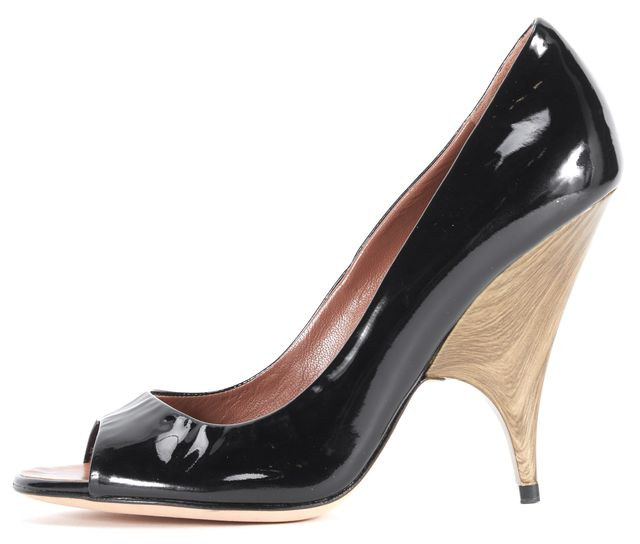 GIUSEPPE ZANOTTI Black Patent Leather Open Toe Pumps