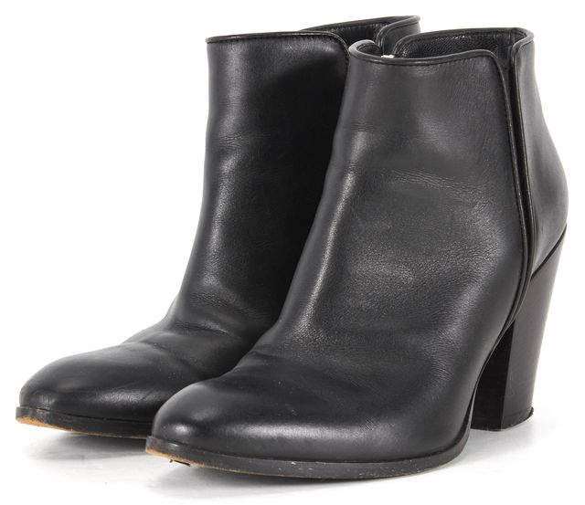 GIUSEPPE ZANOTTI Black Leather Stacked Heel Ankle Boots