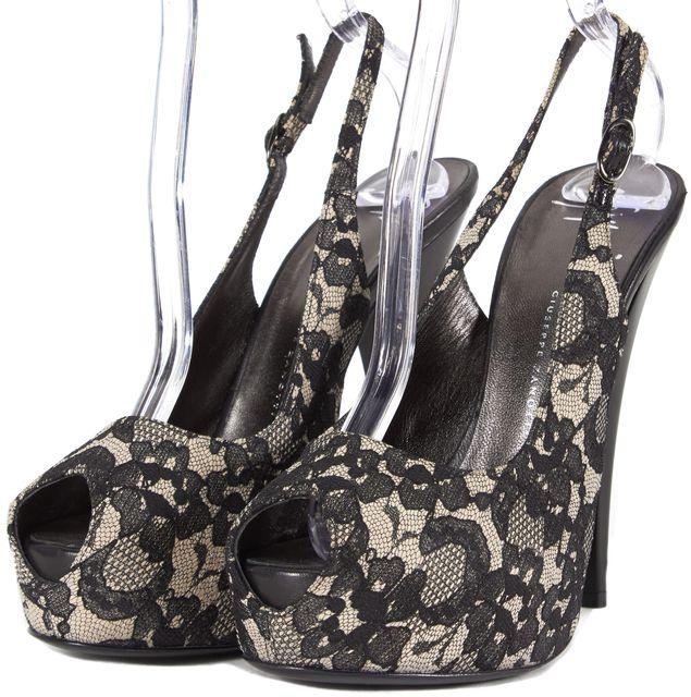 GIUSEPPE ZANOTTI Black Beige Lace Open-Toe Slingback Heels