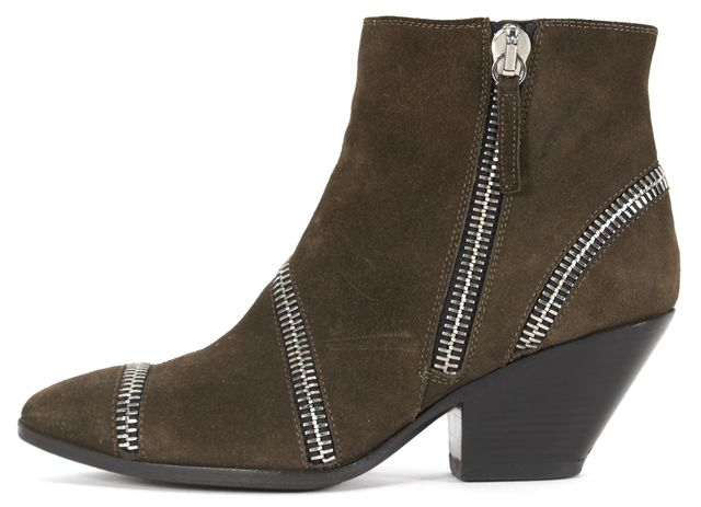 GIUSEPPE ZANOTTI Olive Suede Zipper Embellished Heeled Ankle Boots
