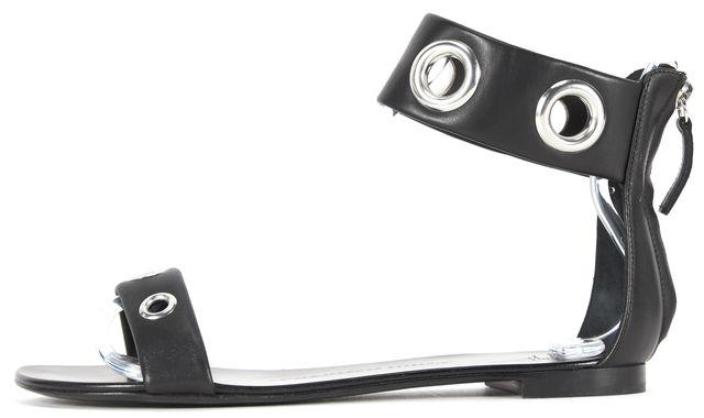 GIUSEPPE ZANOTTI Black Grommet Embellished Leather Flat Sandals